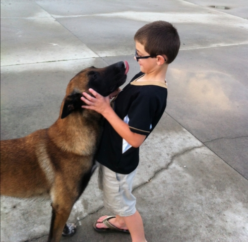 Kid and dog